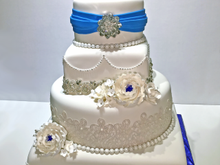 4 tier, wedding, cake, flowers