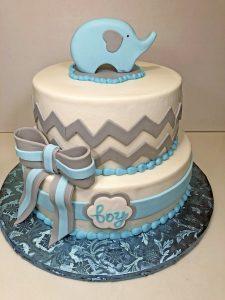 2tier Baby Shower Boy Elephant Cake 097