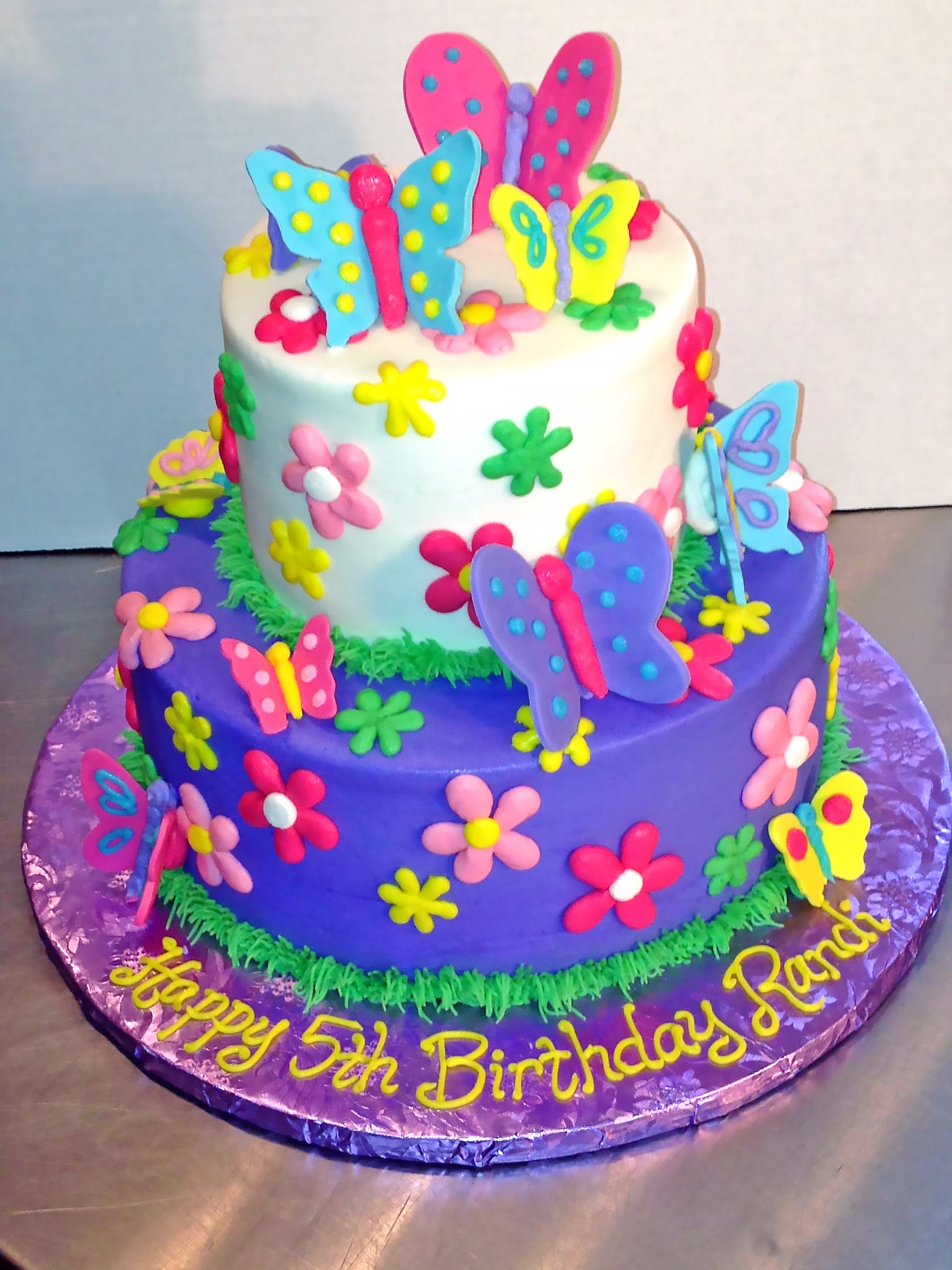 2tier 5th Birthday Butterfly Cake Flowers Girls 733