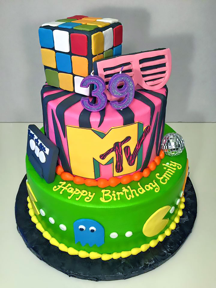 Custom Birthday Cake 80s Theme