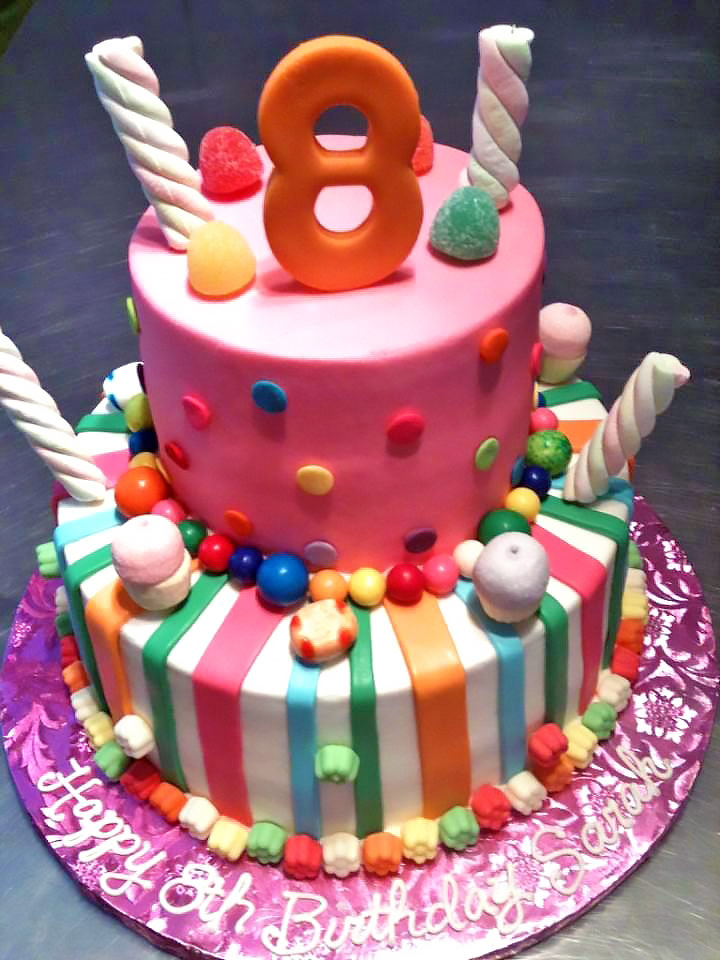 2 tier candy theme birthday cake