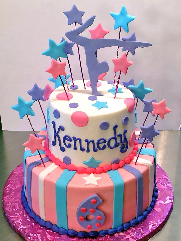2tier Birthday Cake Girls Gymnastics 587