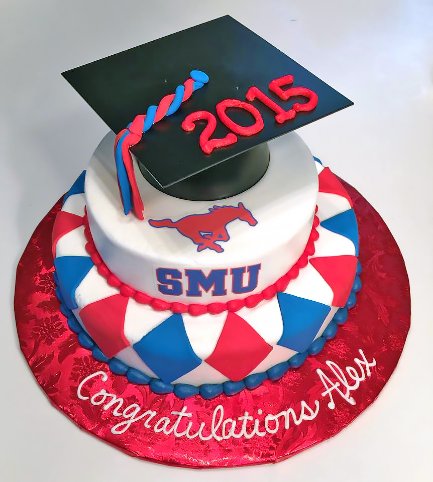 2tier cake graduation southern methodist university 828 Birthday Cake Delivery In Dallas Texas