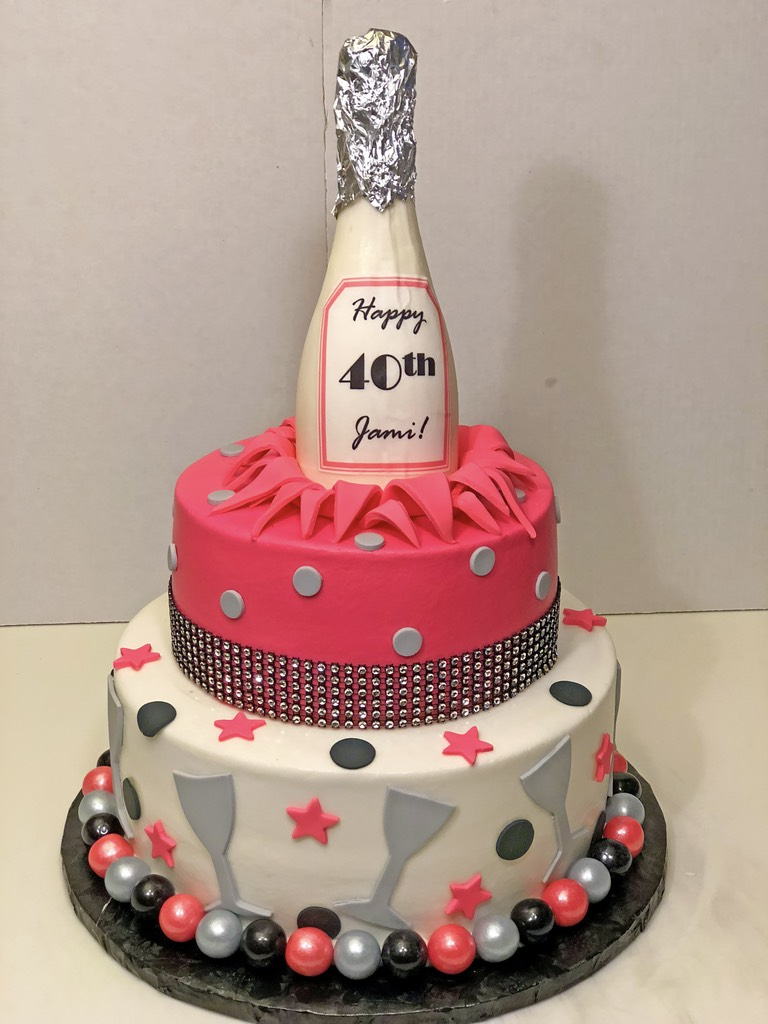 Adult Birthday Champagne Party 40th 2tier Cake