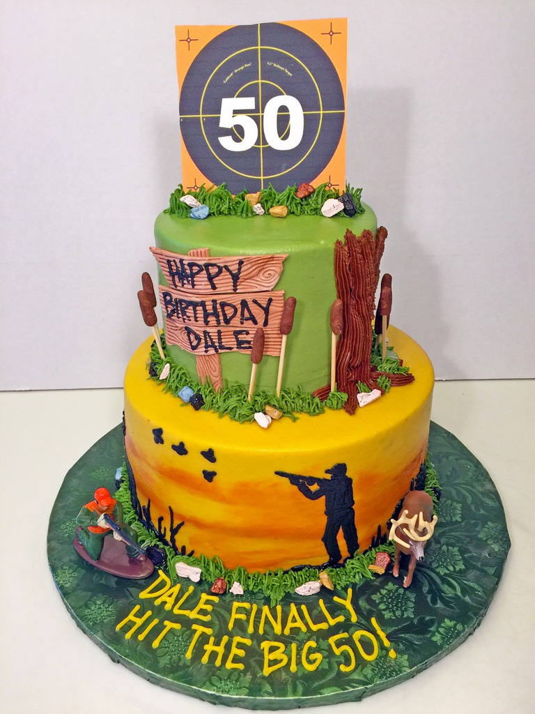 Adult Birthday Hunting 50th 2tier Cake 045