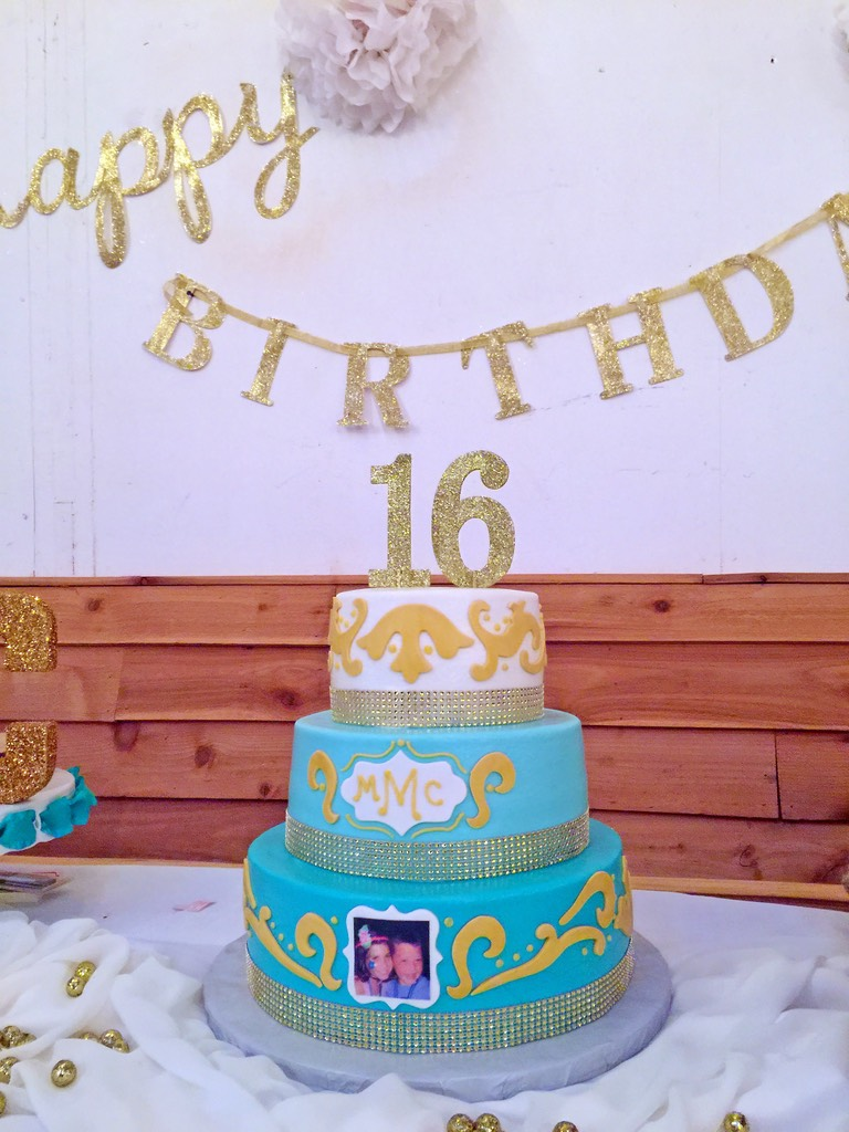 Cake Girls 3tier 16th Birthday Jewels Teal Gold