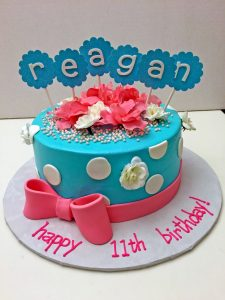 cake-girls-flowers-bow-teal-pink-063