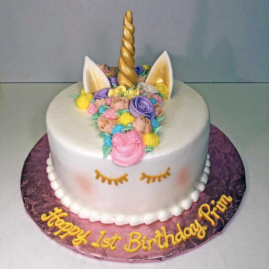 Cake Girls Unicorn Flowers 1st Birthday 102