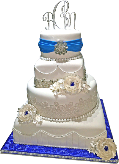Featured Wedding Cake 4 Tier Blue