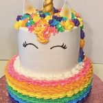 Birthday, Girl, Unicorn, rainbow, Cake