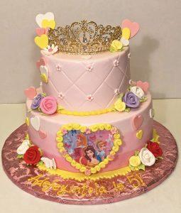 cake-2tier-5th birthday-princess-disney-cinderella-belle-crown-flowers-pink-02323-2-20