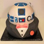 Cake, Wedding, 2tier, Groom, r2d2, tuxedo